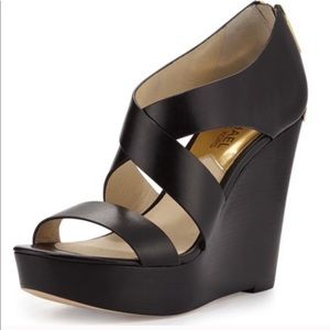 Michael Kors Elena Black Wedge Size 6.5
